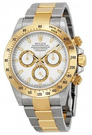 Replique Montre Rolex Cosmograph Daytona Cadran Blanc Or Jaune Automatique 116503