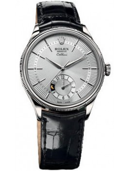 Replique Montre Rolex Cellini Dual Time en or blanc 50529 sbk