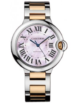 Replique Montre Cartier Ballon Bleu 36mm acier & Or rose W6920033