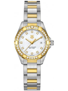 Replique Montre TAG Heuer Aquaracer 300M Femme inoxydable & Or jaune 27 MM WAY1453.BD0922