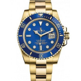 Replique Montre Rolex Submariner Date Jaune Or Bleu Cerachrom Diamant 116618lb-0002