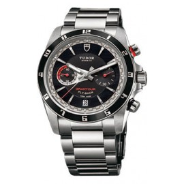 Copie Tudor Grantour Chrono Fly-Back cadran noir en acier inoxydable 20550N-95730-black