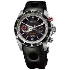 Copie Tudor Grantour Chrono Fly-Back cadran noir en cuir noir 20550N-largeperfleather noir