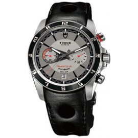 Copie Tudor Grantour Chrono Fly-Back Cadran Argent en cuir noir 20550N-largeperfleather-argent