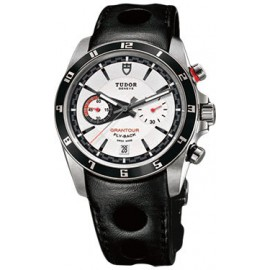 Copie Tudor Grantour Chrono Fly-Back Cadran Blanc en cuir noir 20550N-largeperfleather blanc