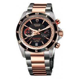 Copie Tudor Grantour Chrono Fly-Back en acier inoxydable et or rose 20551N-95731