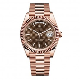 Rolex Day-Date 40 Chocolate Dial 18kt or Everose automatique Hommes 228235CD Replique
