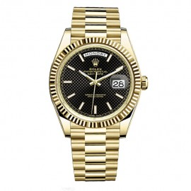 Rolex Day-Date 40 Automatique Noir Diagonal motif cadran or jaune 18 kt 228238BD Replique