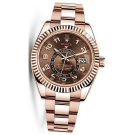 Replique Montre Rolex Sky-Dweller Cadran chocolat Or Rose Hommes 326935