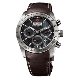 Copie Tudor Fastrider Chronographe Cuir Marron Index Noir 42000