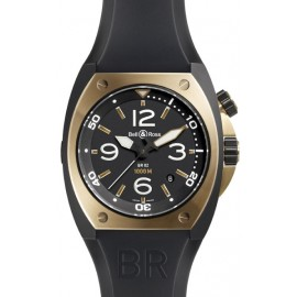 Copie Bell & Ross Marine automatique Homme BR 02-92 en or rose et carbone