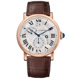 Copie Cartier Rotonde de Cartier Second Time Day Zone/Nuit en or rose W1556240