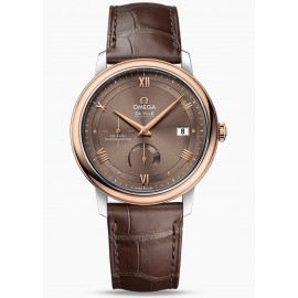 Omega De Ville Prestige Power Reserve 39.5 mm Acier Or rouge on Bracelet en cuir 424.23.40.21.13.001 Montre Replique