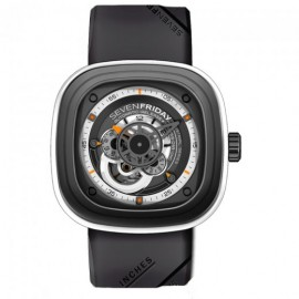 Replique Montre SevenFriday P3-3 en acier inoxydable/PVD gris/blanc