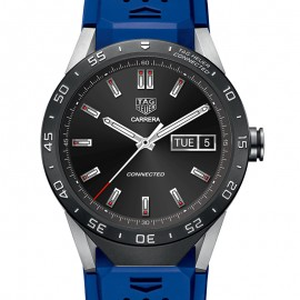 Faux Tag Heuer Connected caoutchouc bleu sangle SAR8A80.FT6058