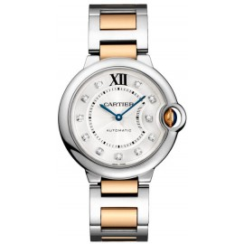 Replique Montre Cartier Ballon Bleu de Cartier Cadran automatique en argent Dames W3BB0018